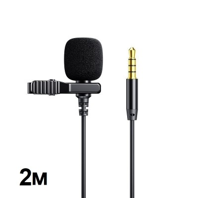Петличный микрофон Joyroom JR-LM1 Lavalier Microphone для телефона, камеры AUX (3.5mm) 2m Black