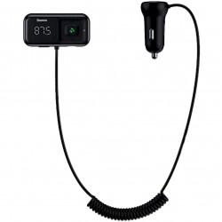 FM-модулятор (трансмиттер) в авто Baseus T typed S-16 (Bluetooth, MP3, MicroSD, AUX) c функцией зарядного устройства на 2 USB Black