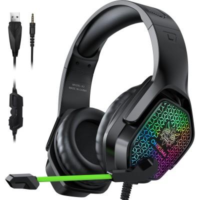 Игровые наушники для ПК с микрофоном и подсветкой Onikuma X3 Black