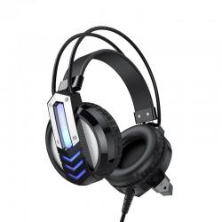 Игровые наушники для компьютера с микрофоном и подсветкой Borofone BO100 Fun gaming headphones Black