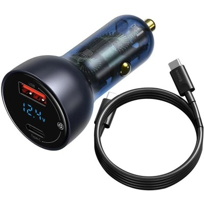 Зарядное устройство в авто с быстрой зарядкой Baseus Particular Digital Display QC+PPS Dual Quick Charger 65W (с кабелем Type-C) Dark Gray