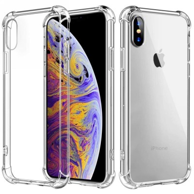 Силиконовый противоударный (с усиленными углами) чехол-бампер для Apple iPhone X/XS Прозрачный Без бренда