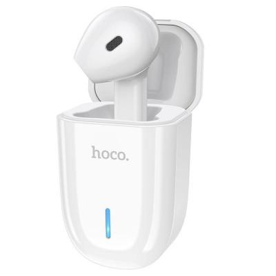 Беспроводная блютуз гарнитура с зарядным кейсом Hoco E55 Flicker unilateral wireless headset White