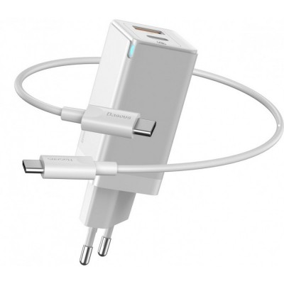 Быстрое сетевое зарядное устройство Baseus GaN2 Quick Charger 45W Type-C + USB-A (с кабелем Type-C to Type-C на 60W) White