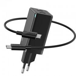 Быстрое сетевое зарядное устройство Baseus GaN2 Quick Charger 45W Type-C + Type-C (с кабелем Type-C to Type-C на 60W) Black