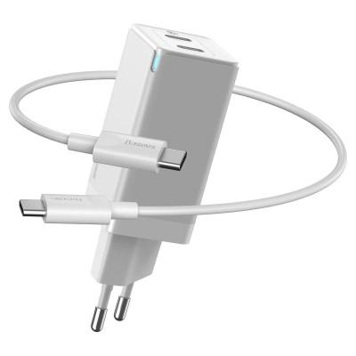 Быстрое зарядное устройство Baseus GaN2 Quick Charger 45W Type-C + Type-C (с кабелем Type-C to Type-C на 60W) White