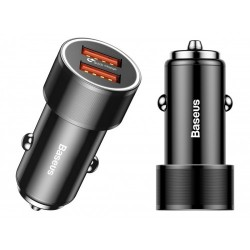 Автомобильное зарядное устройство Baseus Small Screw Quick Charge (2USB, 36W) Black