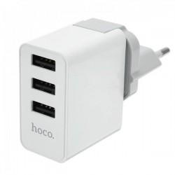 Сетевое зарядное устройство HOCO C20 YOKE 3 USB White