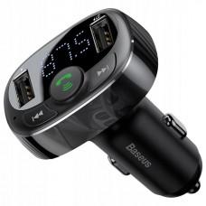 FM-модулятор (трансмиттер) Baseus S-09A T typed (Bluetooth, MP3) c функцией зарядного устройства Black