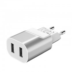 Сетевое зарядное устройство Hoco C47A Metal (2USB, 2.1А) Silver