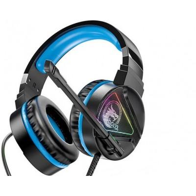 Игровые наушники для ПК с микрофоном проводные Hoco W104 Drift gaming headphones с подсветкой Black-blue