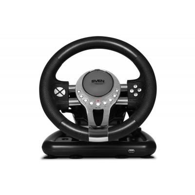 Игровой руль с поддержкой Windows, PS4, XB1, рычагом переключения передач и педалями Sven GC-W800 USB Black