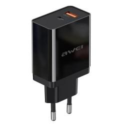 Сетевое зарядное устройство Awei C-980 (QC3.0+PD) Fast Charger Black