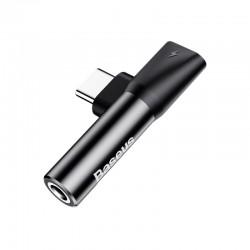 Переходник Baseus L41 Type-C to Type-C+3.5mm Charging and Audio Adapter Black