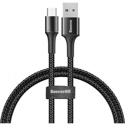 Кабель MicroUSB с оплеткой Baseus halo data cable (3A) 1m Black