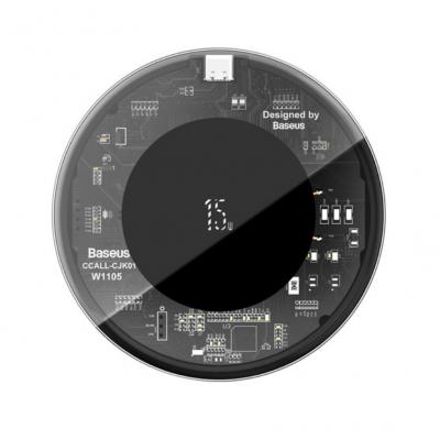Беспроводная зарядка Baseus Simple Wireless Charger 15W (Version for Type-C) Transparent Black
