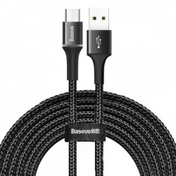 Кабель MicroUSB с оплеткой Baseus halo (2A) 3m Black