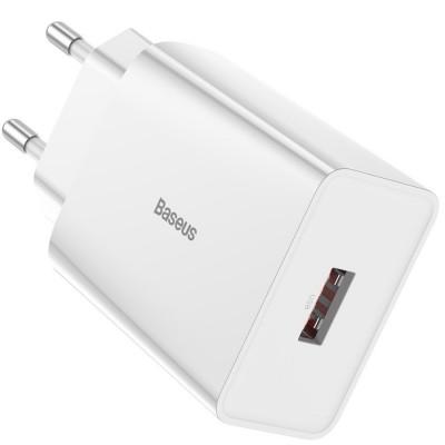 Сетевое зарядное устройство Baseus Speed Mini QC single U Quick Charger (QC3.0, 18W, 1USB) White