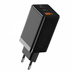 Быстрое сетевое зарядное устройство Baseus GaN2 Pro Quick Charger 65W (2 Type-C + USB-A) Black