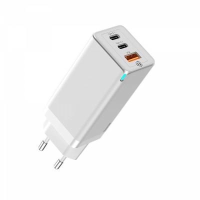 Быстрое сетевое зарядное устройство Baseus GaN2 Pro Quick Charger 65W (2 Type-C + USB-A) White