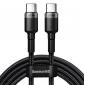 Кабель Type-C to Type-C с оплеткой Baseus Cafule PD2.0 100W flash charging (100W, 20V, 5A) 2m Black