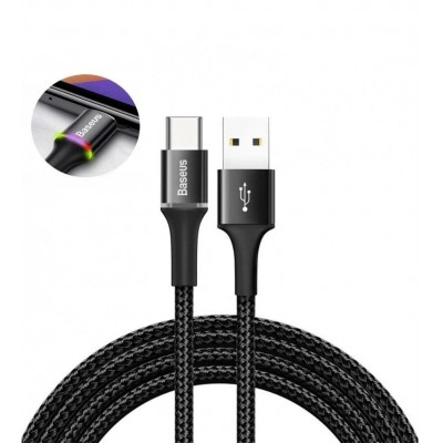 Кабель Type-C с оплеткой Baseus halo data HW flash charge cable (40W) 1m Black