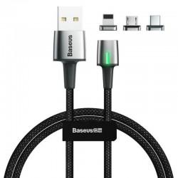 Магнитный кабель с оплеткой 3в1 (MicroUSB, Type-C, Lightning) Baseus Zinc Magnetic Kit 1m Black