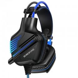 Игровые наушники для ПК с микрофоном проводные Borofone BO101 Racing gaming headphones с подсветкой Black-blue