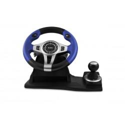 Игровой руль с поддержкой Windows, рычагом переключения передач и педалями Sven GC-W600 USB Black-Blue