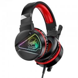 Игровые наушники для ПК с микрофоном проводные Hoco W104 Drift gaming headphones с подсветкой Black-red