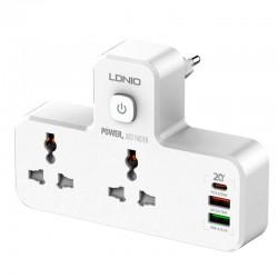 Cетевой адаптер (зарядное устройство) Ldnio SC2311 (2 розетки, 2USB, 1Type-C, QC, PD, 3A, 20W) White