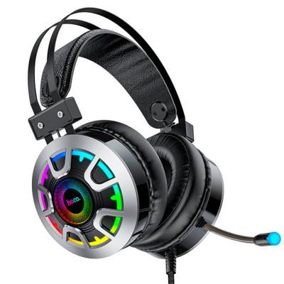 Игровые наушники для ПК с микрофоном проводные Hoco ESD05 Gaming headphones Hi-Res с подсветкой Black