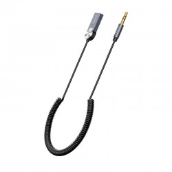 Аудио Bluetooth адаптер (ресивер) в авто Hoco DUP02 In-car BT audio receiver spring cable Black