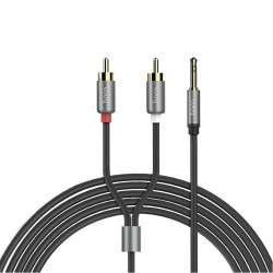 Кабель Hoco UPA10 AUX double lotus RCA audio cable to 3.5mm Gray