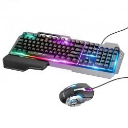 Игровой комплект проводной для ПК 2 в 1 (клавиатура и мышь) с подсветкой Hoco GM12 RGB gaming combo RUS Black