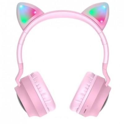 Беспроводные наушники с кошачьими ушками Hoco W27 Cat ear Pink