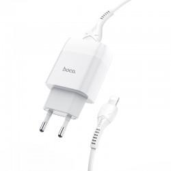 Сетевое зарядное устройство Hoco C73A Glorious (2USB) с кабелем Lightning White
