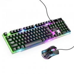 Игровой комплект проводной для ПК 2 в 1 (клавиатура и мышь) с подсветкой Hoco GM11 RGB gaming combo RUS Black