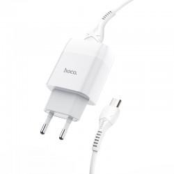 Сетевое зарядное устройство Hoco C73A Glorious (2USB) с кабелем MicroUSB White