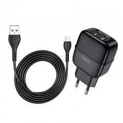 Сетевое зарядное устройство Hoco C77A (2USB) с кабелем Type-C Black