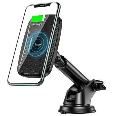 Магнитный держатель для телефона в авто с беспроводной зарядкой Hoco CA75 Magnetic wireless charging car holder Black