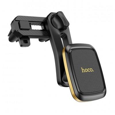 Магнитный держатель для телефона в дефлектор Hoco CA57 Black-Gold