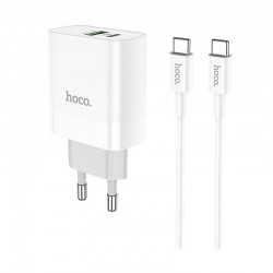 Сетевое зарядное устройство Hoco C80A Rapido PD+QC3.0 charger (с кабелем Type-C to Type-C) White