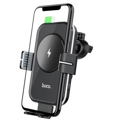 Держатель для телефона в авто с беспроводной зарядкой Hoco CA80 Buddy smart wireless charging car holder Black