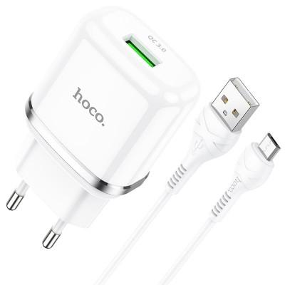 Сетевое зарядное устройство Hoco N3 (комплект с кабелем MicroUSB) 1USB, QC3.0 White