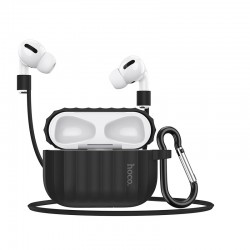 Комплект для Apple Airpods Pro (чехол, карабин, шнур) Hoco WB20 Fenix protective cover Black