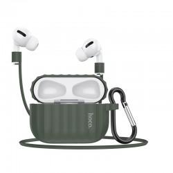 Комплект для Apple Airpods Pro (чехол, карабин, шнур) Hoco WB20 Fenix protective cover Dark Night Green