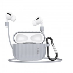 Комплект для Apple Airpods Pro (чехол, карабин, шнур) Hoco WB20 Fenix protective cover Gray