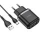 Сетевое зарядное устройство Hoco N4 (комплект с кабелем Type-C) 2USB, 2,4A Black
