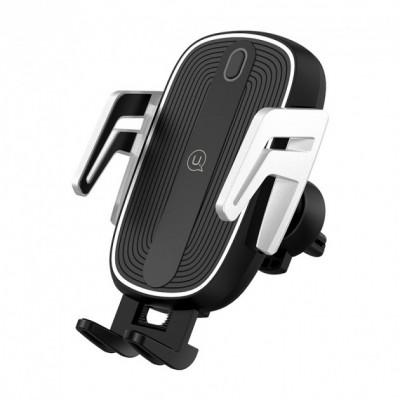 Держатель для телефона с беспроводной зарядкой Usams US-CD101 Automatic Touch Induction (Center Console) Black-Silver